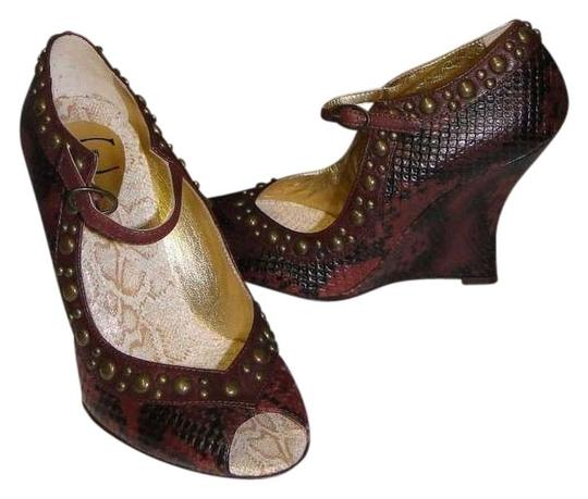 Just Cavalli BROWN SNAKE PRINT LEATHER Wedges