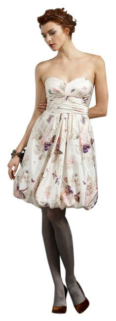 Anthropologie Ivory Twirled Sweetheart Butterfly Above Knee Night Out Dress Size 2 (XS) Anthropologie Ivory Twirled Sweetheart Butterfly Above Knee Night Out Dress Size 2 (XS) Image 1