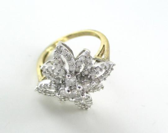 Other 10K SOLID YELLOW GOLD RING CLUSTER FLOWER STAR 70 GENUINE DIAMONDS 1.0 CARAT