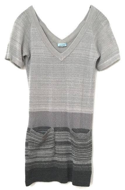 Item - Grey Knit Striped Above Knee Short Casual Dress Size 4 (S)