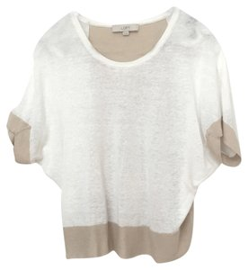Ann Taylor LOFT Colorblock Top White, Beige