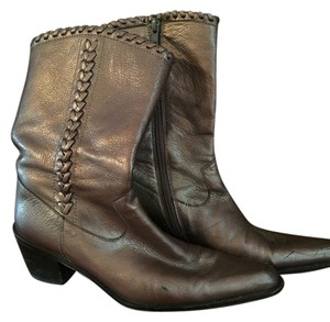 Stuart Weitzman Metallic Leather Bronze gunmetal Boots