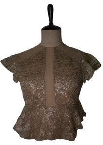 Lisa Nieves Sequin Formal Mesh Peplum Top gold