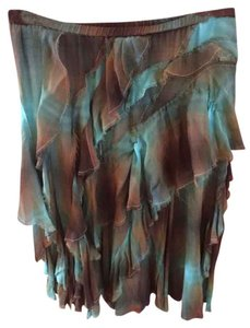 DKNY Layered Ruffled Boho Bohemian Skirt aqua and brown tie dye