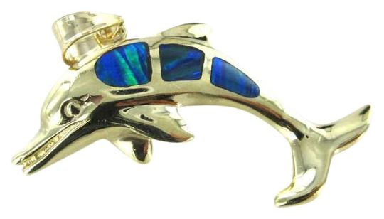 Preload https://item1.tradesy.com/images/gold-10kt-yellow-solid-pendant-dolphin-opal-blue-porpoise-22dwt-ocean-charm-395670-0-0.jpg?width=440&height=440