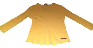 Lucky Brand V-neck Waffle Shirt Top Yellow