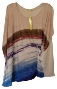 Gianni Bini Oversized T Shirt Off-White and Indigo