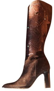 Valentino Suede Cowboy Leather Embellished Beaded Turquoise Stacked Heel High Heel Garavani brown Boots