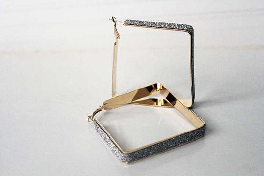 Colette Colette Gold Square Crystal Dust Covered Hoop Earrings