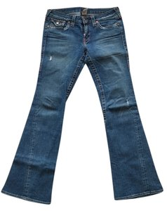 True Religion Rugged Distressed Denim Flare Leg Jeans-Distressed