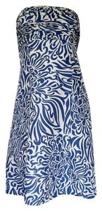Ann Taylor short dress Blue Silk Floral Strapless on Tradesy