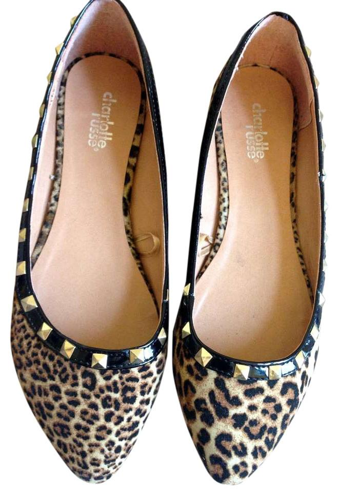 2ef4c95ed359 Charlotte Russe Leopard Studded Almond-toe Flats Size US 6 - Tradesy
