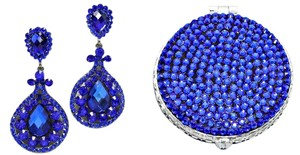 Office Glam Collection Stunning Blue Rhinestone Crystal Accent Clipon Earrings And Matching Compact Mirror Set