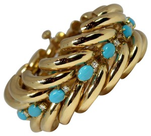 Other Split Design Turquoise Diamond Gold Bracelet