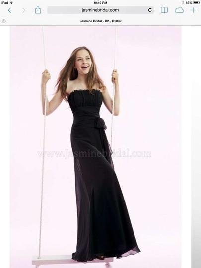 Jasmine Bridal Black Poly Chiffon B1039 Formal Bridesmaid/Mob Dress Size 10 (M)