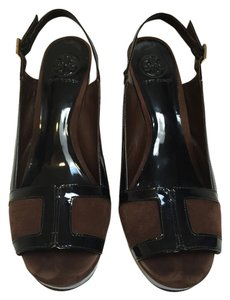 Tory Burch Black Patent/Brown Suede/Gold Platforms