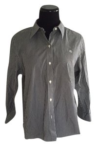 Ralph Lauren Button Down Shirt Dark Grey and White Stripes