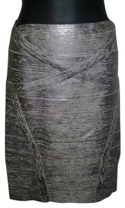 Hervé Leger Bandage Dress Sexy Cocktail Gold Silver Mini Skirt Platinum