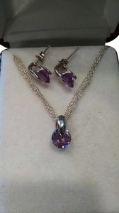 .925 Sterling Silver Purple Amythest Necklace and Earring Set