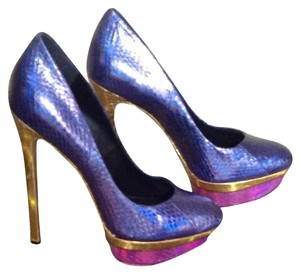 Brian Atwood Heels Leather 4+ Heel Blue with Pink/Gold Trim Platforms