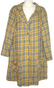ILGWU Union Made Vintage Swing Checkered Plaid And Yellow Wool Blend Sateen Trench Coat