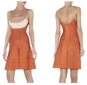 Hervé Leger short dress Orange Herve Bandage on Tradesy