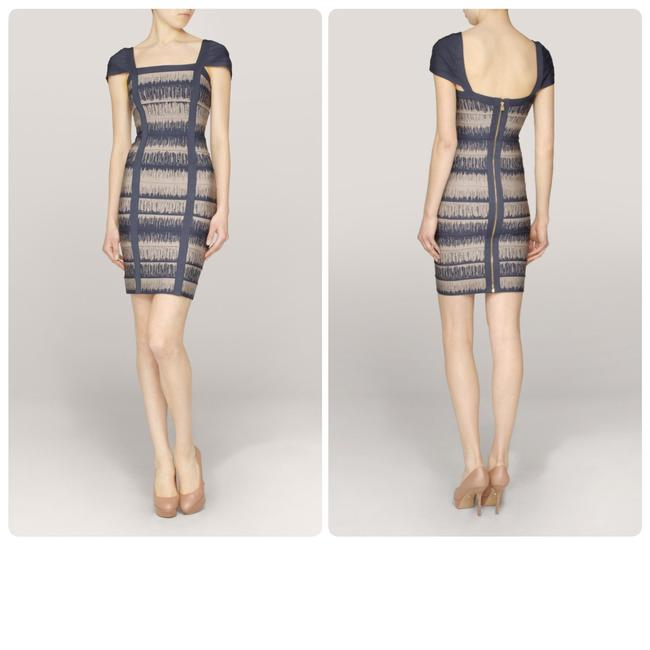 Hervé Leger short dress Blue, Grey Medium Mini Blue on Tradesy
