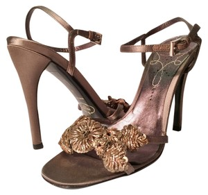 Prada Sandal Embelished Beaded Steel Grey, Pewter, Metallic Formal