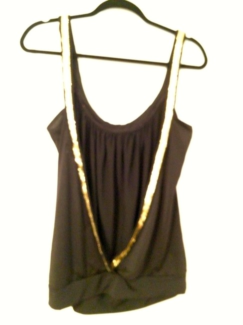 Charlotte Russe Gold Hardware Backless Dressy Gold Accents Scoop Scoop Backless Comfortable Stylish Chic Top Black