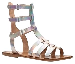 Crown Vintage Gladiator Leather Iridescent Silver Sandals
