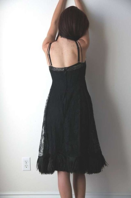 Vintage Illusion Ostrich Feather Lace Feather Cocktail 40s Feather 50s Little Dress