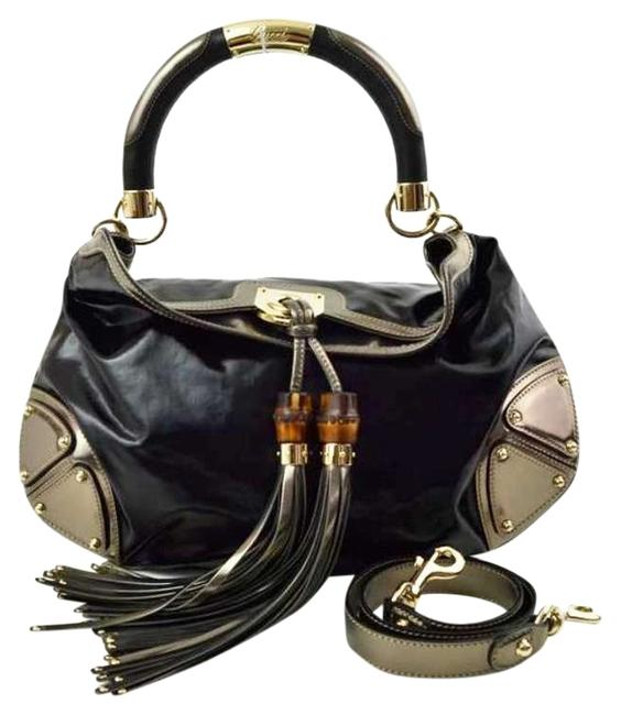 Item - Indy Shoulder Handbag Black and Metallic Gray Exterior with Silver Toned Hardware. Black Interior Vinyl Leather Fabric Textile Lined Beach Bag
