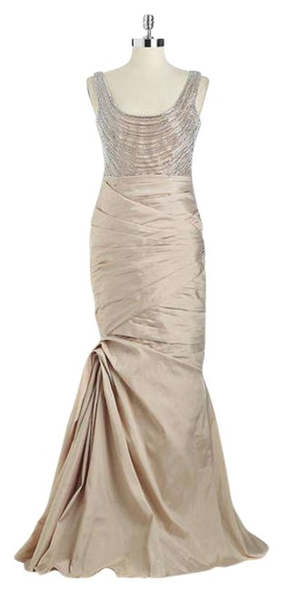 Item - Beige Evening Gown Wedding Long Formal Dress Size 12 (L)