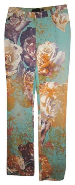 Just Cavalli Stretch Floral Italy Mid-rise Straight Leg Jeans