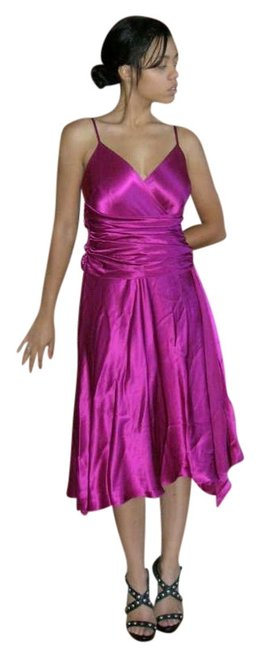 Papell Boutique Swing Silk Ruched Waist Dance Desiger Slip Cocktail Party New Years Eve Holiday Vintage Silk Fuschia Silk Dress