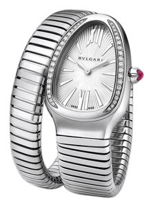 BVLGARI BVLGARI Steel Twist Serpentine Diamond Encrusted Bezel Watch STUNNING