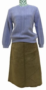 United Colors of Benetton Leather Suede A Line Skirt Moss Green