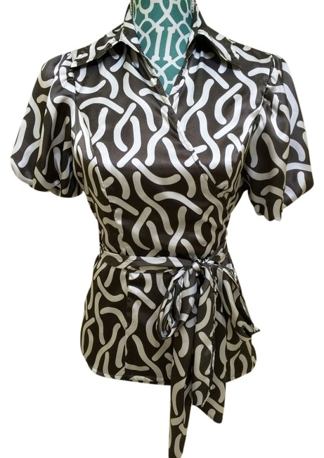 Item - White & Grey Satin Double Breasted Wrap Blouse Size 4 (S)
