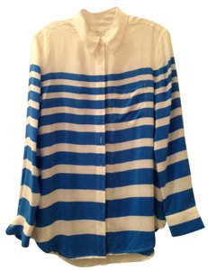 Equipment Striped Preppy Silk Button Down Shirt White/Blue