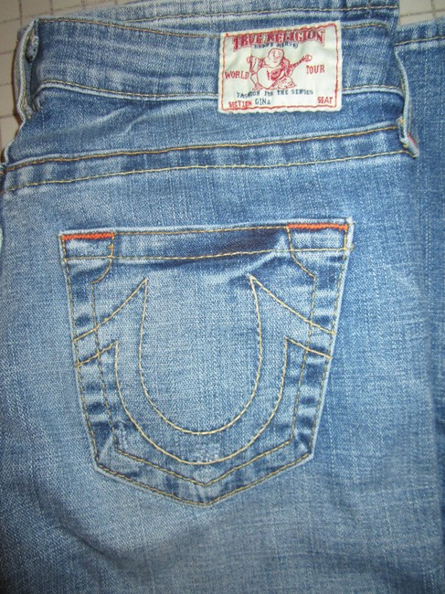 True Religion Gina Distressed Boot Cut Jeans