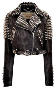 Burberry Brit Biker Motocycle Leather Studded Spiked Motorcycle Jacket