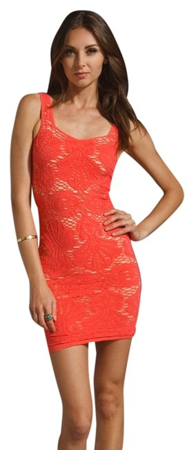 Item - Pink (Persimmon) Style No. F166n390 Above Knee Cocktail Dress Size 2 (XS)