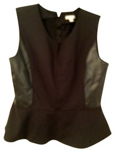 New York & Company Peplum Faux Leather Panel Faux Patent Top Black