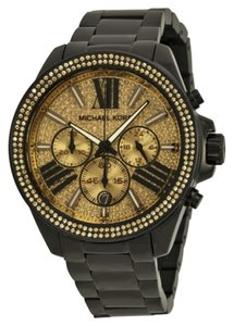 Michael Kors Michael Kors Black Ion Plated Gold Crystal Pave Dial Ladies Watch