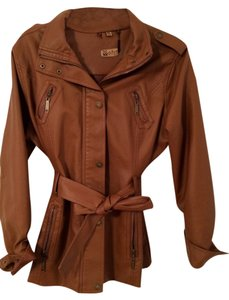 Odyn Faux Sleek Chic Sophisticated Clay Leather Jacket