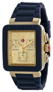 Michele NWT MICHELE Park Jelly Bean Watch,Navy/Yellow Gold