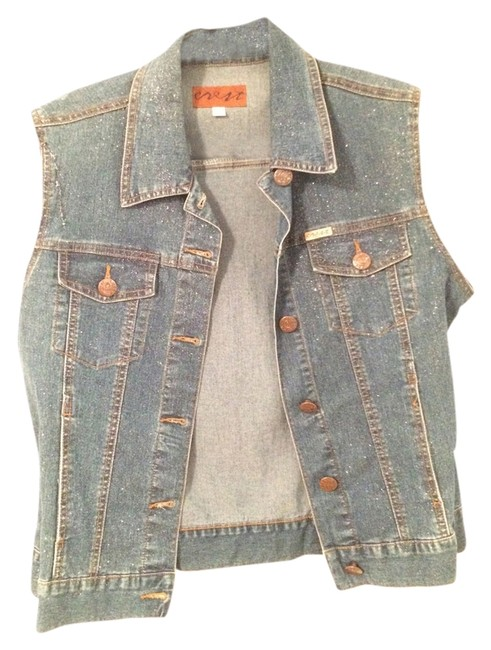Crest Jeans Staple Essential Sleeveless Classic Glitter Shimmer Denim Womens Jean Jacket