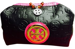 Tory Burch TORY Burch Black & Pink Cosmetic Bag & Maroon Beaded & Silvertone White Logo Necklace