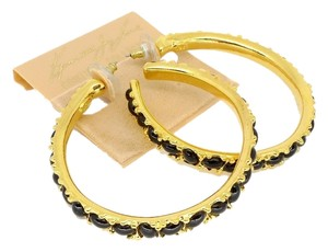 Kenneth Jay Lane Kenneth Jay Lane Large Black Cabochon Hoop Earrings
