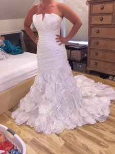 Jasmine Couture Bridal White / Ivory Silk T440 Formal Wedding Dress Size 10 (M)